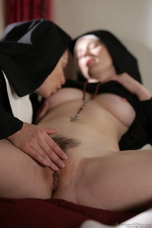 Older nun thirsty for power over buzzed acolyte making her lick pussy