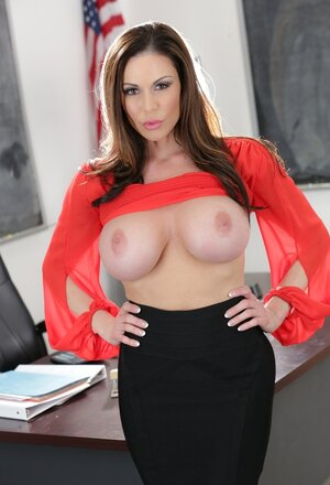 Whorish teacher with large knockers has a thing for non-professional nerdy studs