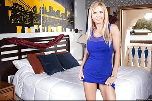 Incredibly arousing striptease of Mom i`d like to fuck wearing yellow lingerie under blue dress