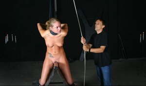 Master dominates over helpless and additionally tied up kitten using water and additionally not only