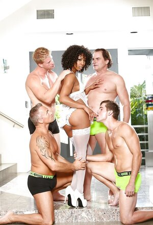 Sex between the cutest black Soccer mom in the world Misty Stone and besides white men