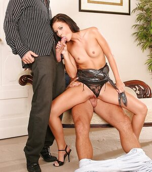 Horniest female gives a pleasurable cock sucking to one lad while one more has an intercourse her