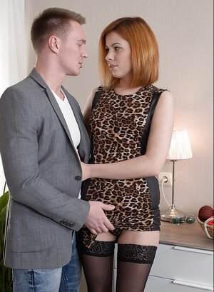 Redhead's leopard dress and moreover moreover stockings make dude horny and moreover moreover he initiates sex