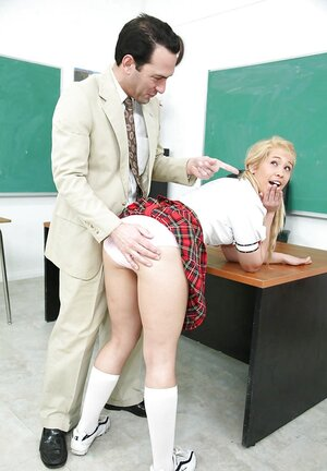 Teacher punishes rebellious 18-19 y.o. by butt spanking and hard penis in clbuttroom