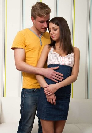 Adorable beauty and additionally lucky boy commence passionate affair in living room
