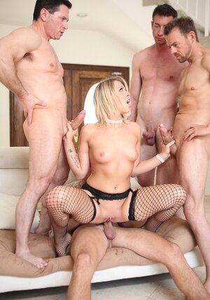 Xxx gang-fuck session for blonde bitch in provocative fishnet stockings