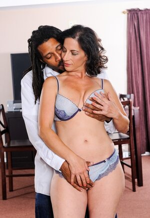 Mom i`d like to fuck with dark hair loves black man's touches and stripping on camera