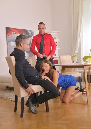 Businessmen finished supper and besides embarked doing escort kitten in her mouth