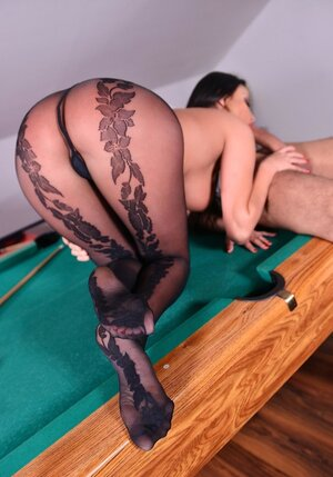 Chunky whore with big knockers seduces boy into knowing her closer on pool table