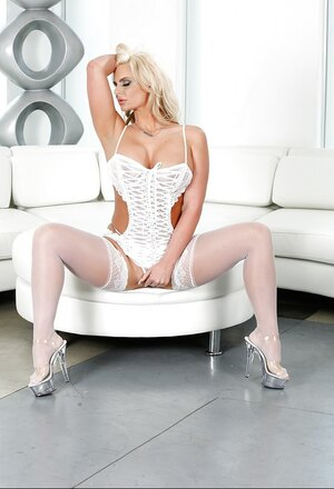 Dissimilar pornstar with gigantic boobs looks likewise sex in her white lingerie