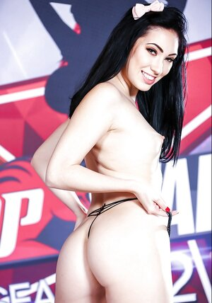 Lady with little nipples was made to pose naked in black high heels only