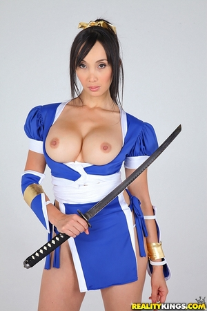 Cosplay photo session of Asian model with big boobs, samurai's saber, and fan